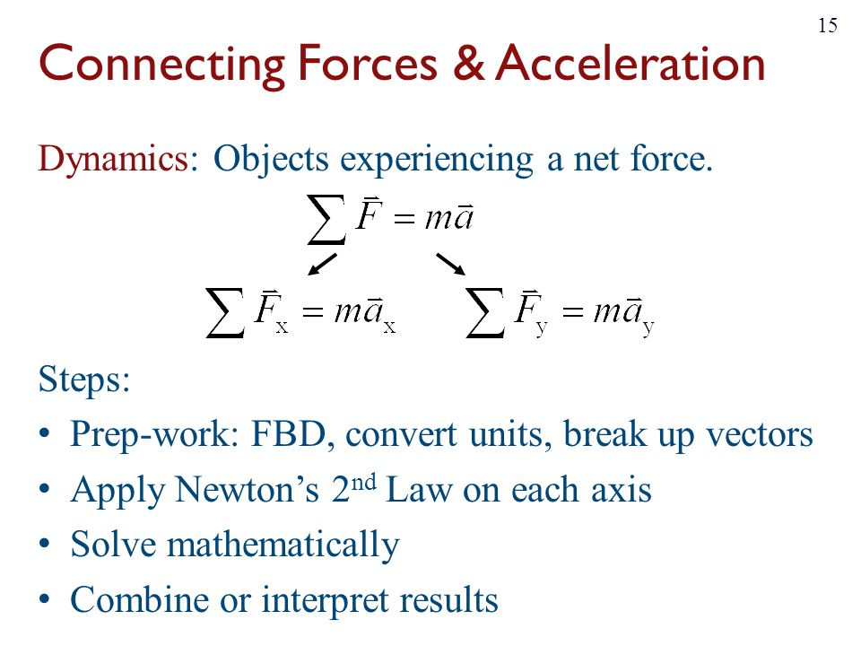 Connecting Forces & Acceleration Dynamics: Objects experiencing a net force. Steps: Prep-work: FBD, convert units, break up vectors Apply Newton's 2 n