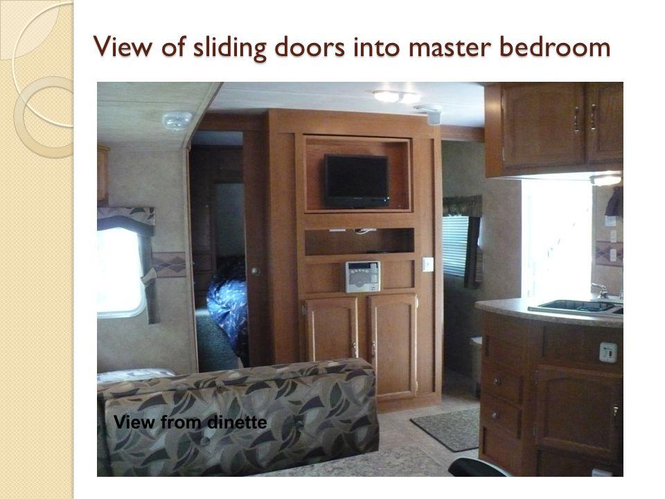 View of sliding doors into master bedroom