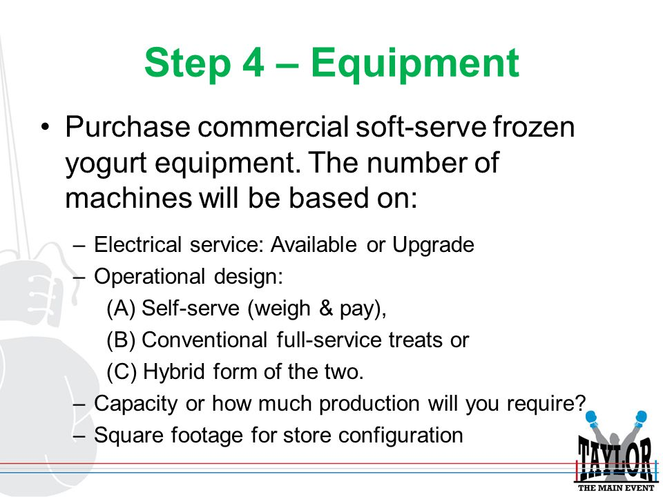 Step 4 – Equipment Purchase commercial soft-serve frozen yogurt equipment. The number of machines will be based on: –Electrical service: Available or