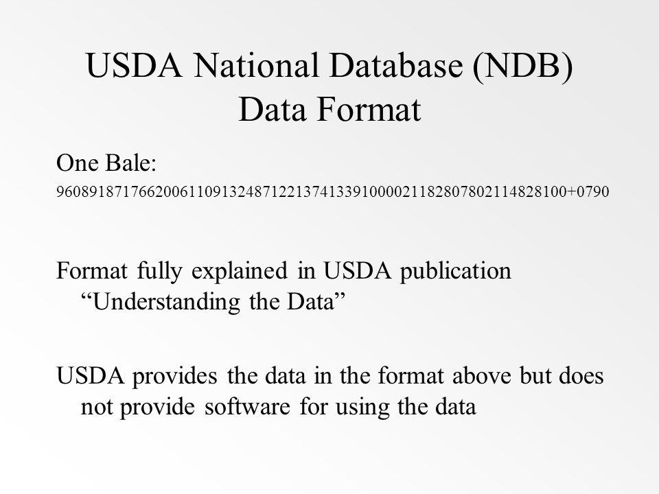 USDA National Database (NDB) Data Format One Bale: 96089187176620061109132487122137413391000021182807802114828100+0790 Format fully explained in USDA