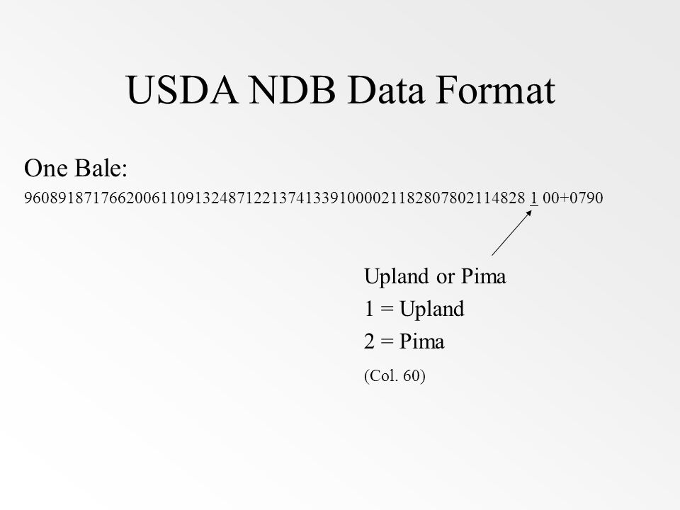 USDA NDB Data Format One Bale: 96089187176620061109132487122137413391000021182807802114828 1 00+0790 Upland or Pima 1 = Upland 2 = Pima (Col. 60)
