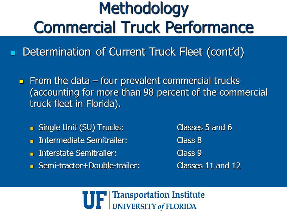 Methodology Commercial Truck Performance Determination of Current Truck Fleet (cont'd) Determination of Current Truck Fleet (cont'd) From the data – f