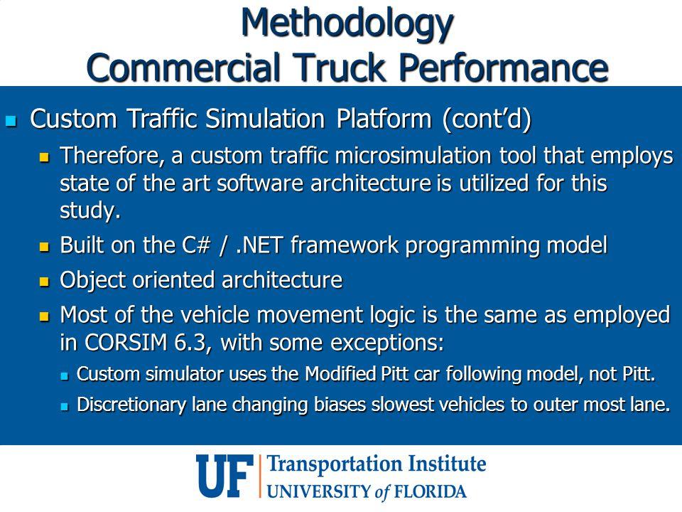 Methodology Commercial Truck Performance Custom Traffic Simulation Platform (cont'd) Custom Traffic Simulation Platform (cont'd) Therefore, a custom t