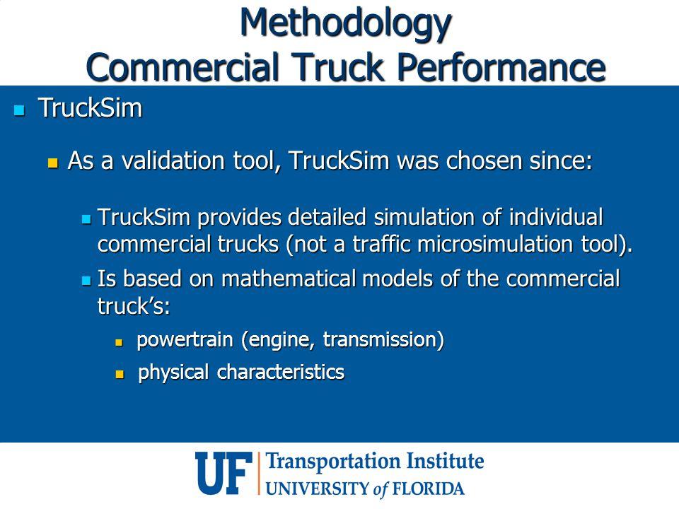 Methodology Commercial Truck Performance TruckSim TruckSim As a validation tool, TruckSim was chosen since: As a validation tool, TruckSim was chosen since: TruckSim provides detailed simulation of individual commercial trucks (not a traffic microsimulation tool).