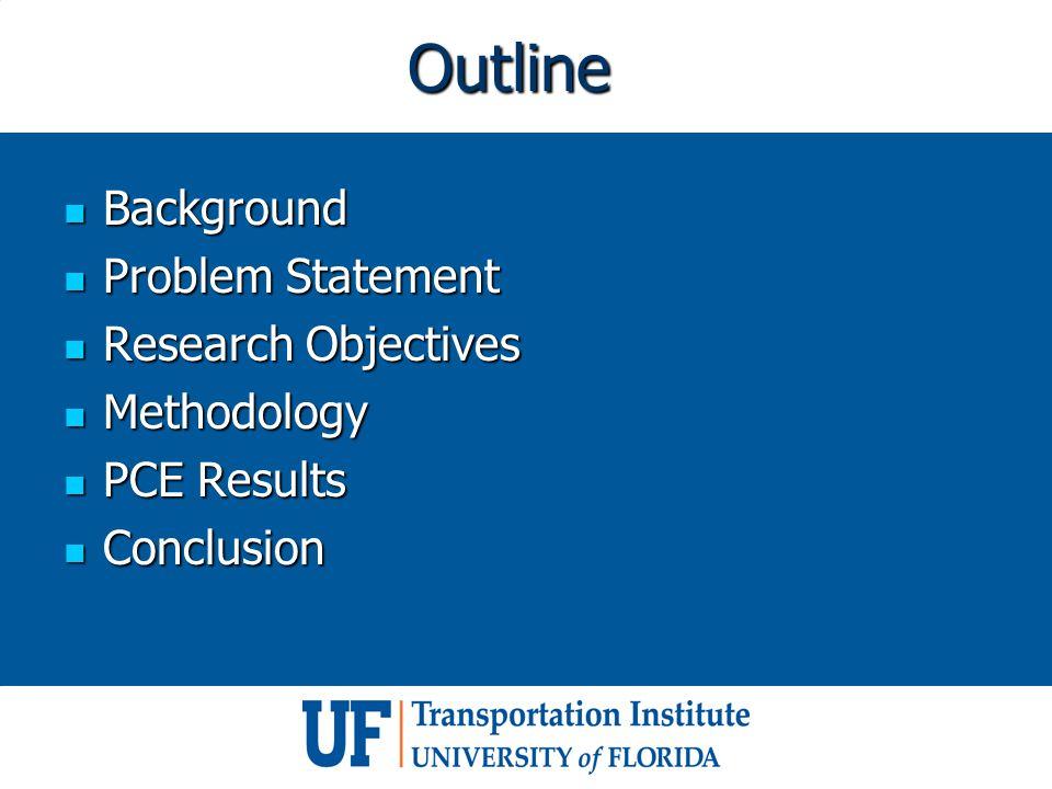 Outline Background Background Problem Statement Problem Statement Research Objectives Research Objectives Methodology Methodology PCE Results PCE Results Conclusion Conclusion