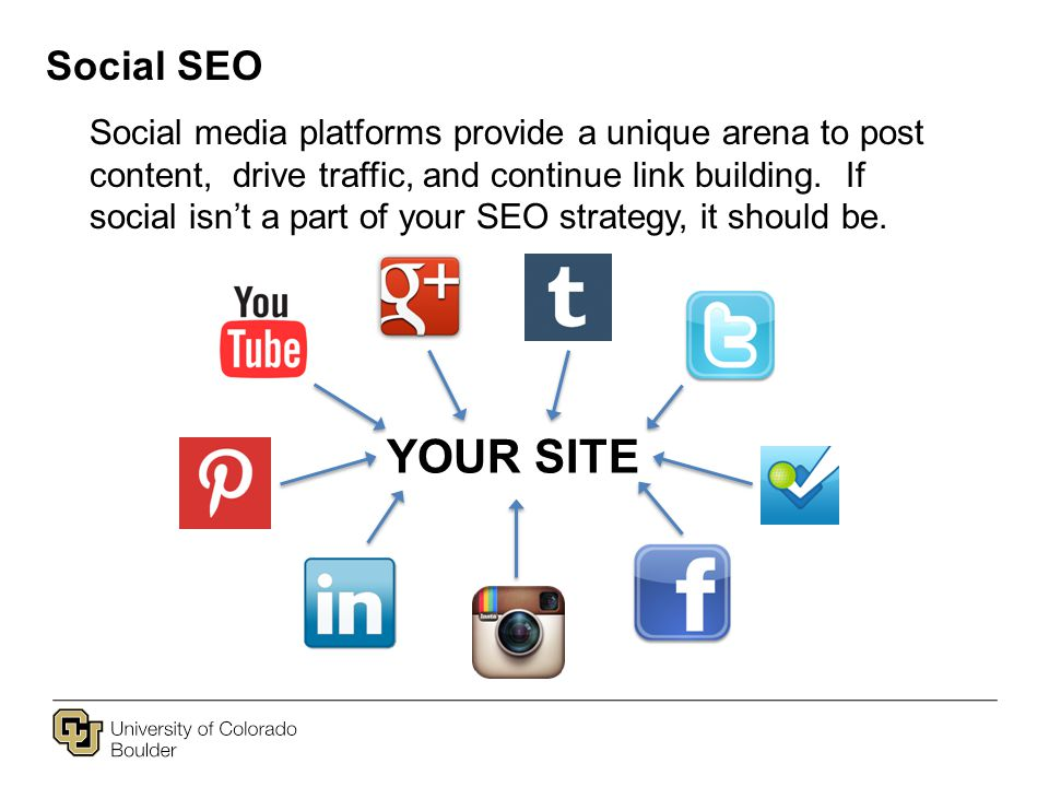 Social SEO Social media platforms provide a unique arena to post content, drive traffic, and continue link building.
