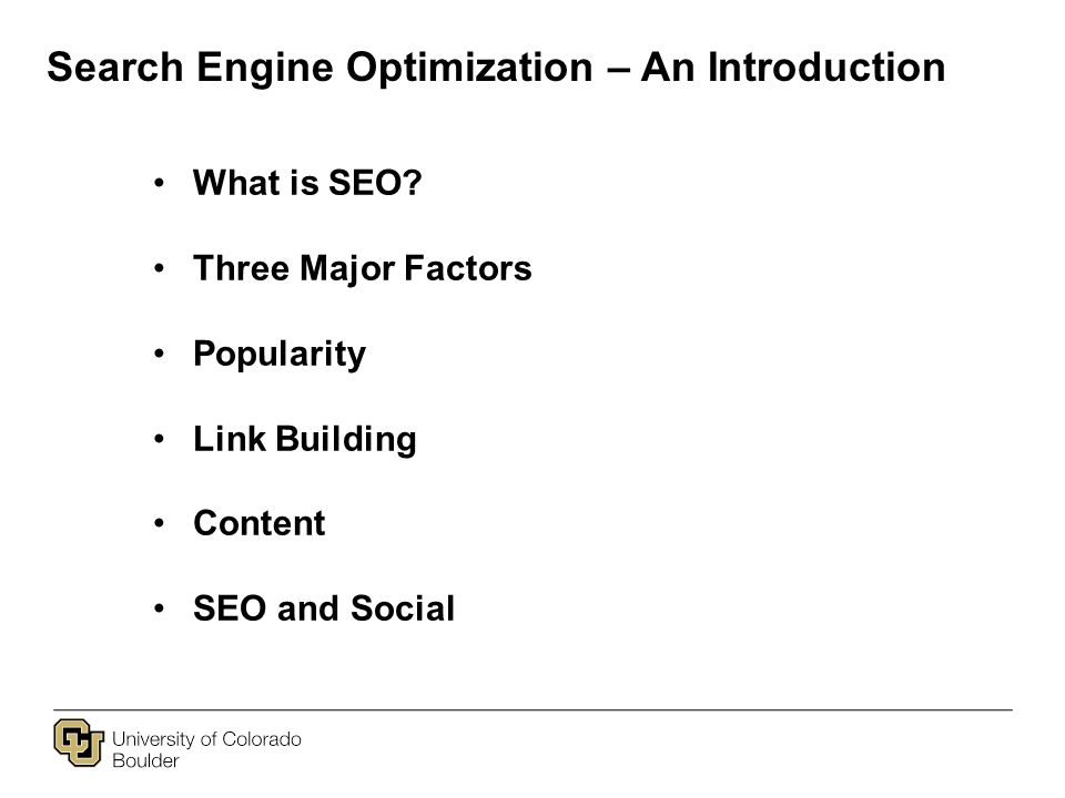 Search Engine Optimization – An Introduction What is SEO.