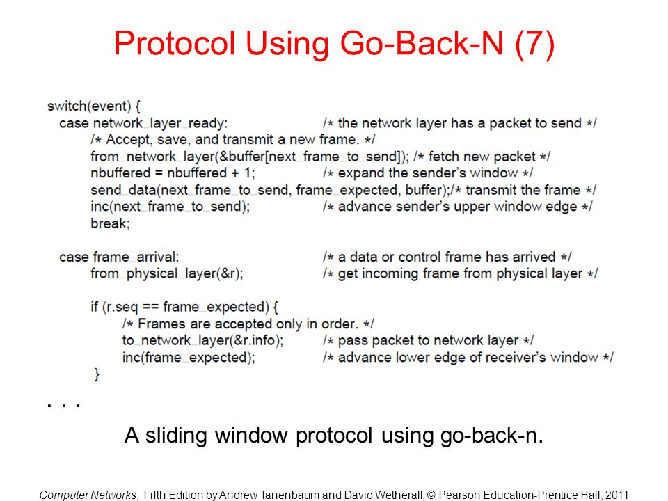 Computer Networks, Fifth Edition by Andrew Tanenbaum and David Wetherall, © Pearson Education-Prentice Hall, 2011 Protocol Using Go-Back-N (7) A slidi