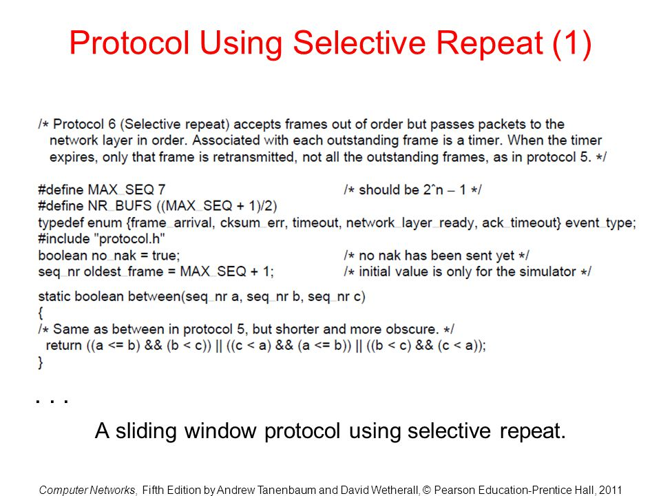 Computer Networks, Fifth Edition by Andrew Tanenbaum and David Wetherall, © Pearson Education-Prentice Hall, 2011 Protocol Using Selective Repeat (1)