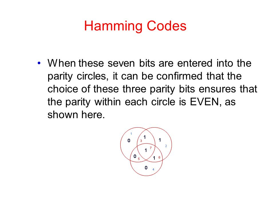 Hamming Codes When these seven bits are entered into the parity circles, it can be confirmed that the choice of these three parity bits ensures that t