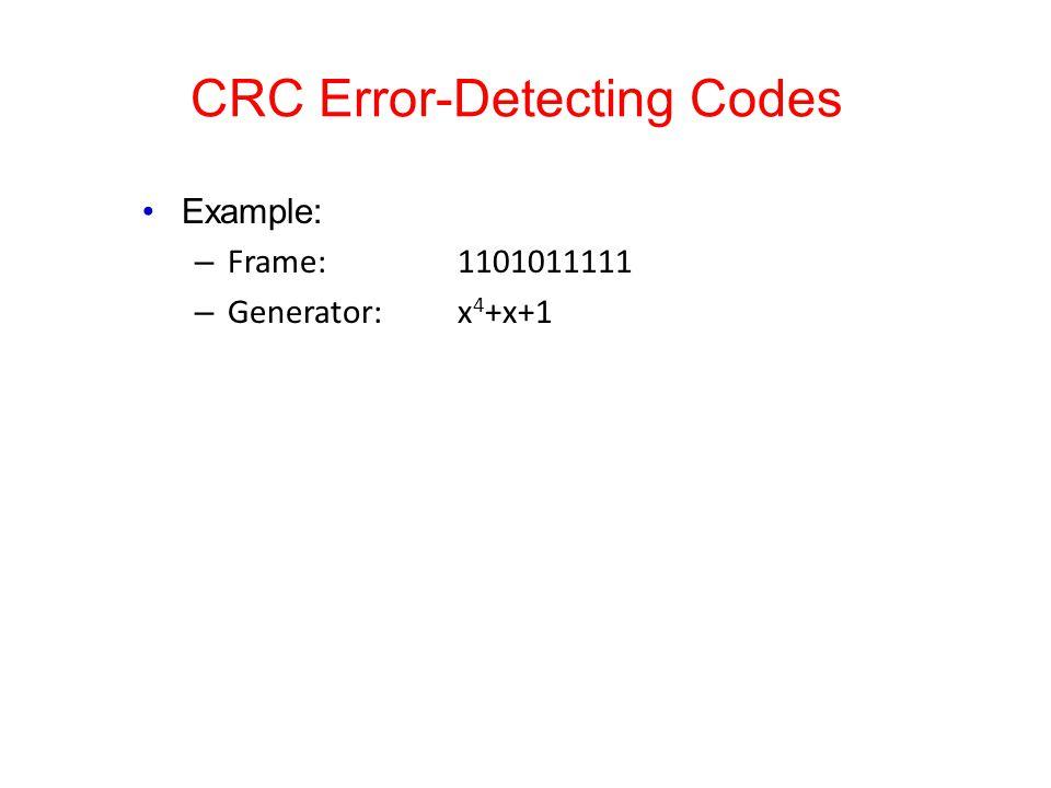 CRC Error-Detecting Codes Example: – Frame: 1101011111 – Generator:x 4 +x+1