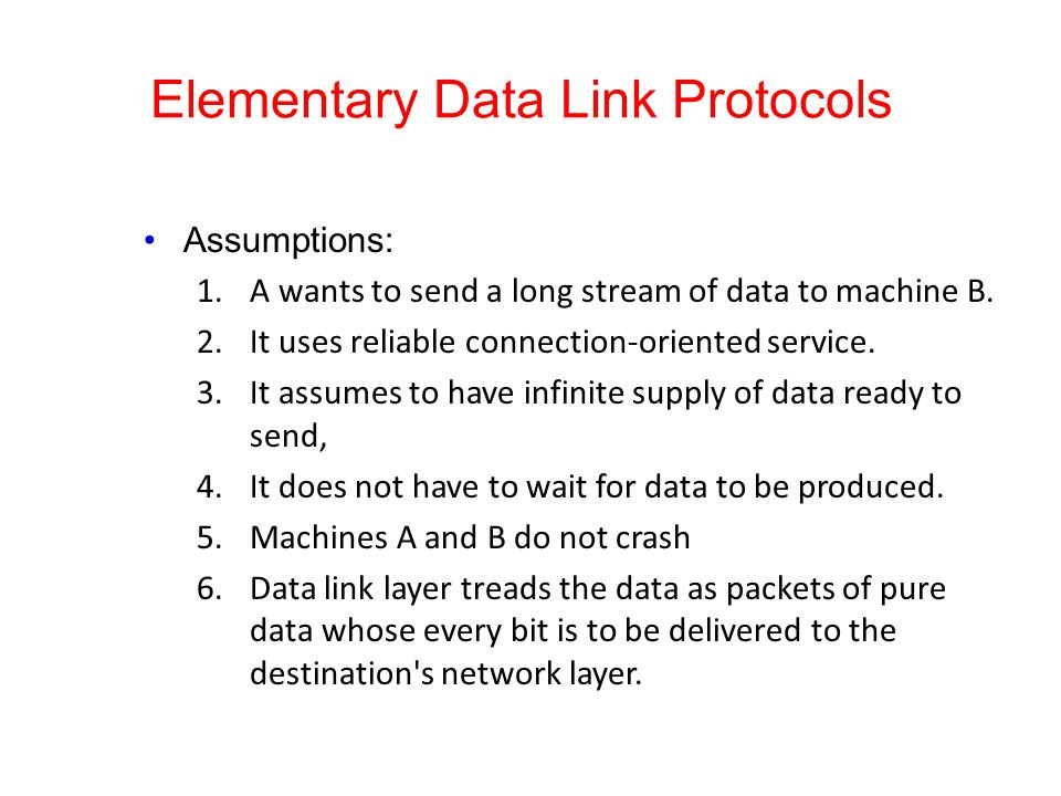 Elementary Data Link Protocols Assumptions: 1.A wants to send a long stream of data to machine B. 2.It uses reliable connection-oriented service. 3.It