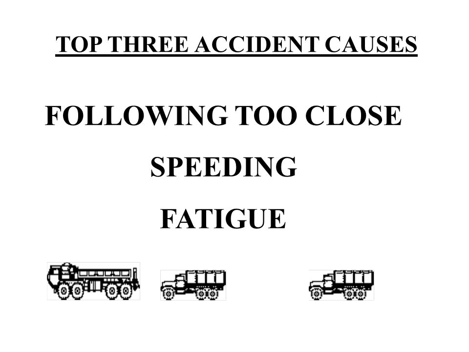 TOP THREE ACCIDENT CAUSES FOLLOWING TOO CLOSE SPEEDING FATIGUE