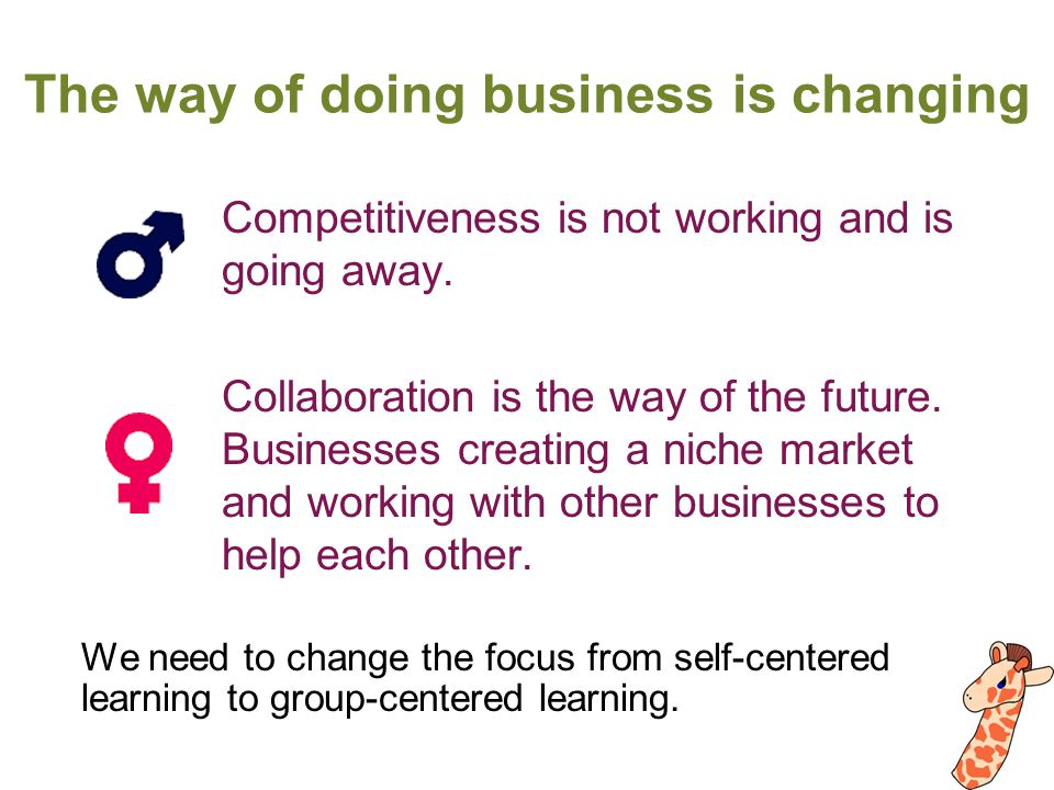 The way of doing business is changing Competitiveness is not working and is going away.