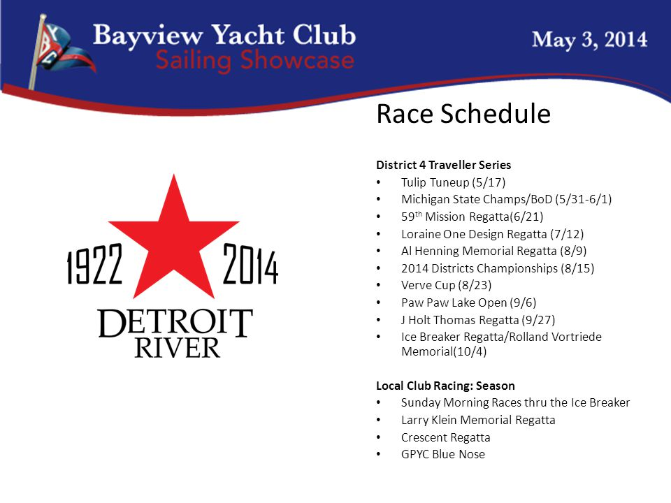 Race Schedule District 4 Traveller Series Tulip Tuneup (5/17) Michigan State Champs/BoD (5/31-6/1) 59 th Mission Regatta(6/21) Loraine One Design Regatta (7/12) Al Henning Memorial Regatta (8/9) 2014 Districts Championships (8/15) Verve Cup (8/23) Paw Paw Lake Open (9/6) J Holt Thomas Regatta (9/27) Ice Breaker Regatta/Rolland Vortriede Memorial(10/4) Local Club Racing: Season Sunday Morning Races thru the Ice Breaker Larry Klein Memorial Regatta Crescent Regatta GPYC Blue Nose