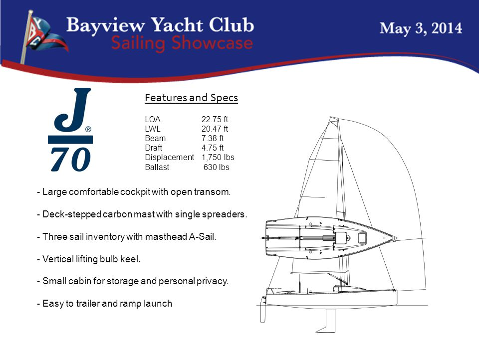 - Large comfortable cockpit with open transom. - Deck-stepped carbon mast with single spreaders.