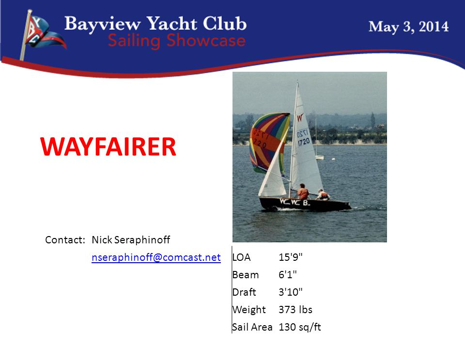 WAYFAIRER Contact:Nick Seraphinoff nseraphinoff@comcast.netLOA15 9 Beam6 1 Draft3 10 Weight373 lbs Sail Area130 sq/ft