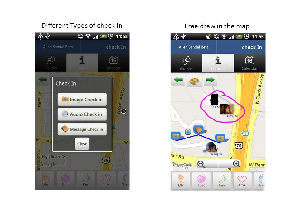Different Types of check-in Free draw in the map