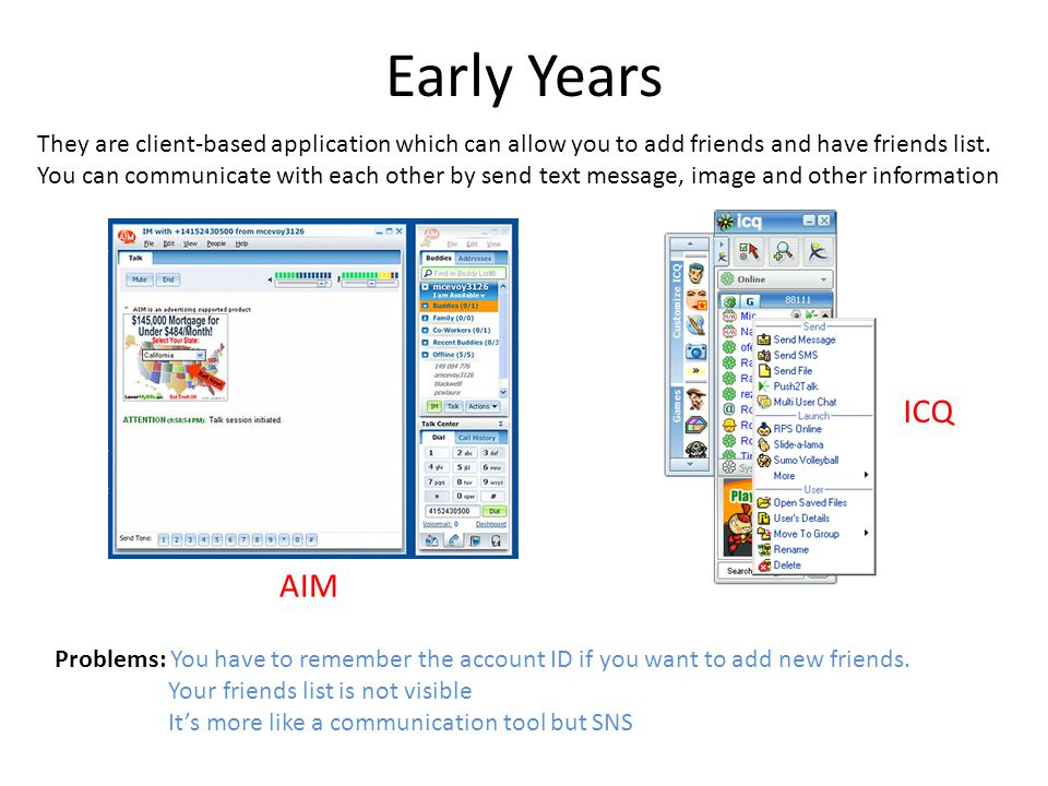Early Years AIM ICQ They are client-based application which can allow you to add friends and have friends list.