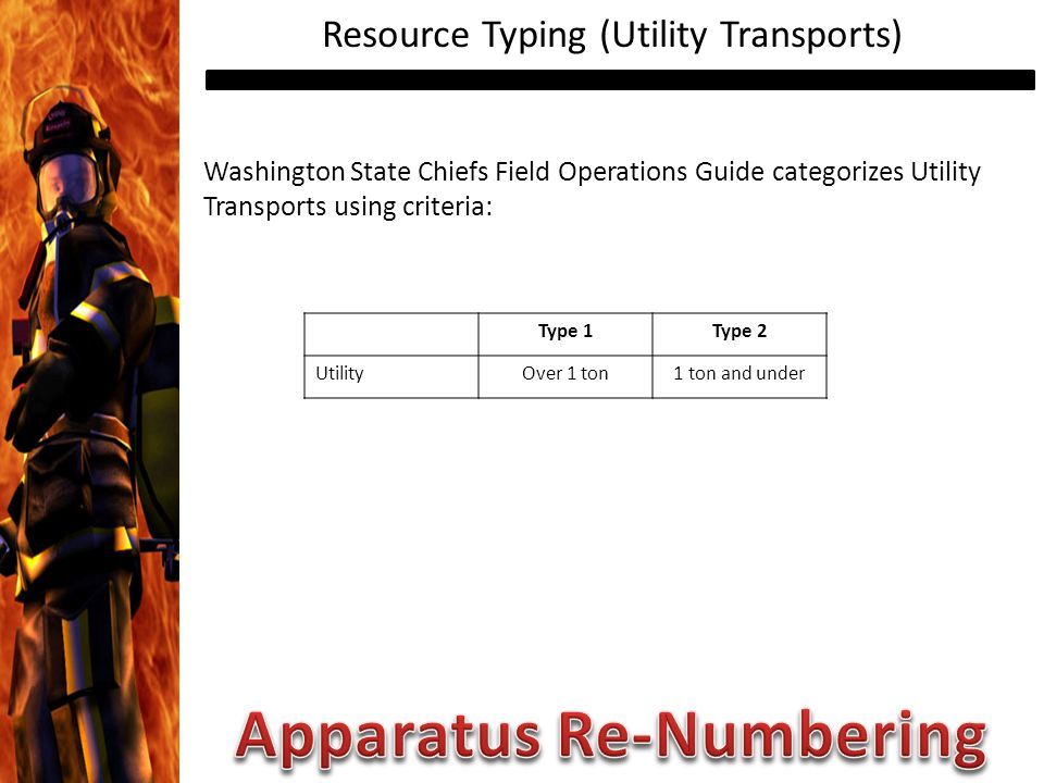 Resource Typing (Utility Transports) Washington State Chiefs Field Operations Guide categorizes Utility Transports using criteria: Type 1Type 2 UtilityOver 1 ton1 ton and under