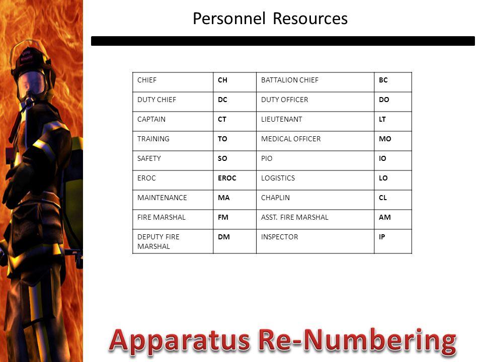 Personnel Resources CHIEFCHBATTALION CHIEFBC DUTY CHIEFDCDUTY OFFICERDO CAPTAINCTLIEUTENANTLT TRAININGTOMEDICAL OFFICERMO SAFETYSOPIOIO EROC LOGISTICSLO MAINTENANCEMACHAPLINCL FIRE MARSHALFMASST.
