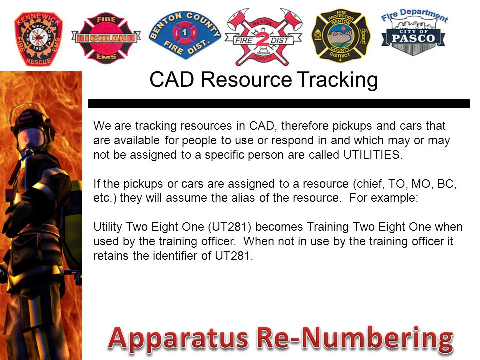 We are tracking resources in CAD, therefore pickups and cars that are available for people to use or respond in and which may or may not be assigned to a specific person are called UTILITIES.