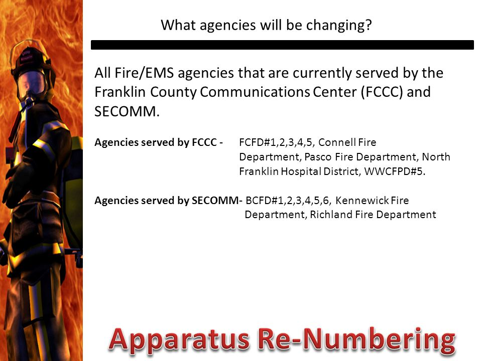 What agencies will be changing.