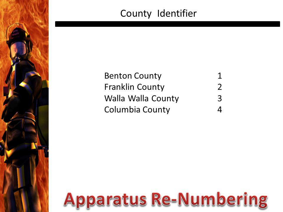 County Identifier Benton County1 Franklin County2 Walla Walla County3 Columbia County4