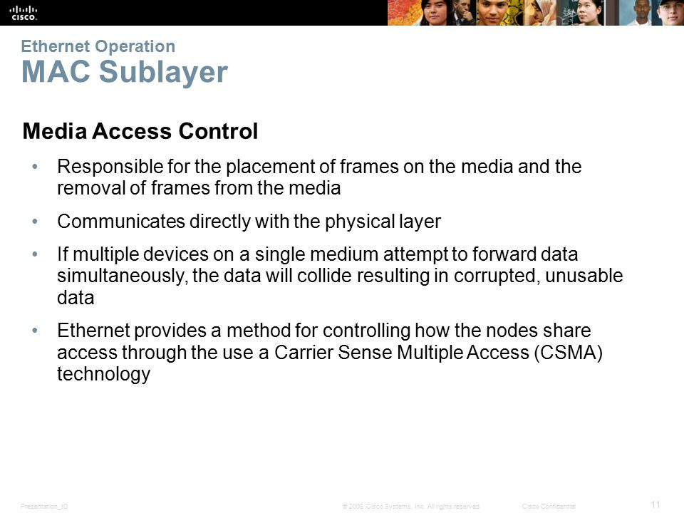 Presentation_ID 11 © 2008 Cisco Systems, Inc. All rights reserved.Cisco Confidential Ethernet Operation MAC Sublayer Media Access Control Responsible