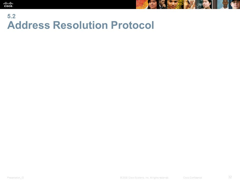 Presentation_ID 32 © 2008 Cisco Systems, Inc. All rights reserved.Cisco Confidential 5.2 Address Resolution Protocol