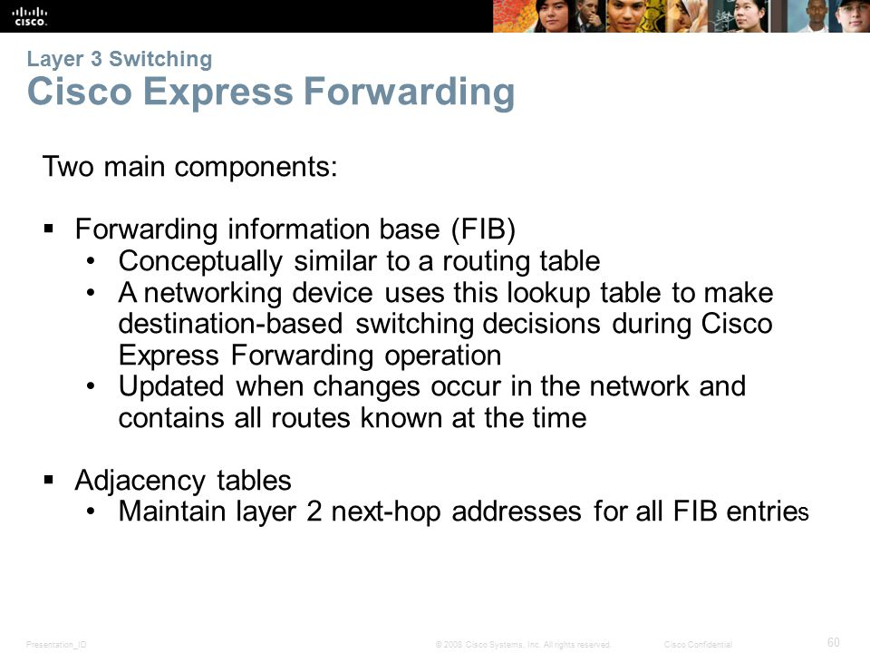 Presentation_ID 60 © 2008 Cisco Systems, Inc. All rights reserved.Cisco Confidential Layer 3 Switching Cisco Express Forwarding Two main components: 