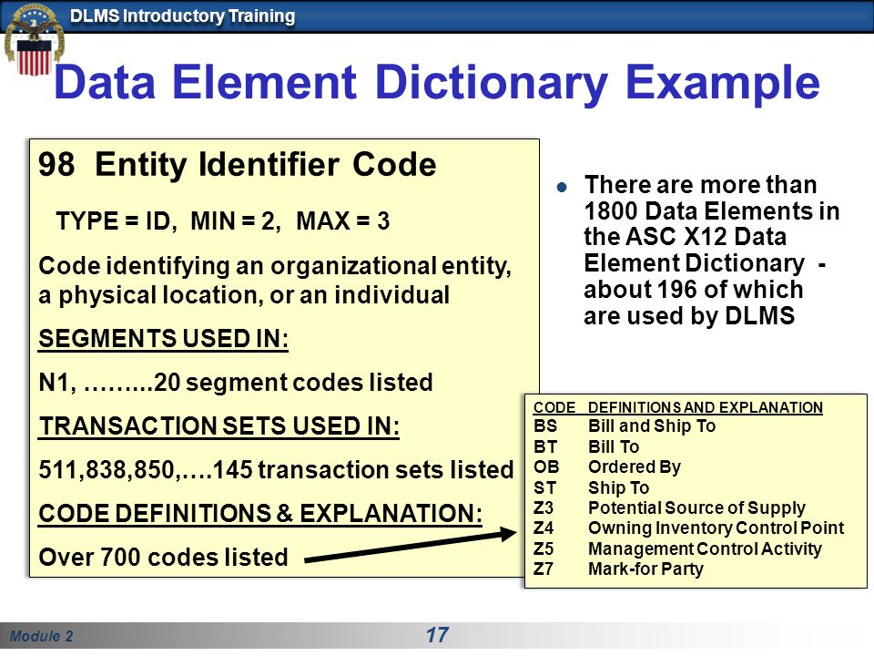 Module 2 17 DLMS Introductory Training Data Element Dictionary Example 98 Entity Identifier Code TYPE = ID, MIN = 2, MAX = 3 Code identifying an organizational entity, a physical location, or an individual SEGMENTS USED IN: N1, ……...20 segment codes listed TRANSACTION SETS USED IN: 511,838,850,….145 transaction sets listed CODE DEFINITIONS & EXPLANATION: Over 700 codes listed 98 Entity Identifier Code TYPE = ID, MIN = 2, MAX = 3 Code identifying an organizational entity, a physical location, or an individual SEGMENTS USED IN: N1, ……...20 segment codes listed TRANSACTION SETS USED IN: 511,838,850,….145 transaction sets listed CODE DEFINITIONS & EXPLANATION: Over 700 codes listed There are more than 1800 Data Elements in the ASC X12 Data Element Dictionary - about 196 of which are used by DLMS CODEDEFINITIONS AND EXPLANATION BSBill and Ship To BTBill To OBOrdered By STShip To Z3Potential Source of Supply Z4Owning Inventory Control Point Z5Management Control Activity Z7Mark-for Party CODEDEFINITIONS AND EXPLANATION BSBill and Ship To BTBill To OBOrdered By STShip To Z3Potential Source of Supply Z4Owning Inventory Control Point Z5Management Control Activity Z7Mark-for Party