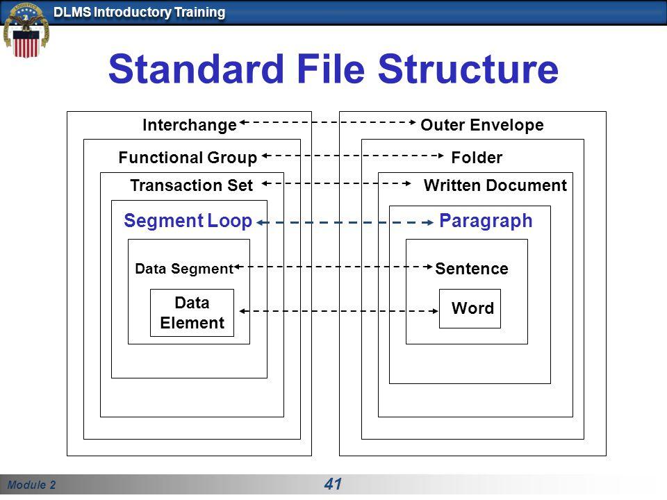 Module 2 41 DLMS Introductory Training Standard File Structure Written Document Sentence Word Folder Outer Envelope Transaction Set Data Segment Data Element Interchange Functional Group Segment LoopParagraph