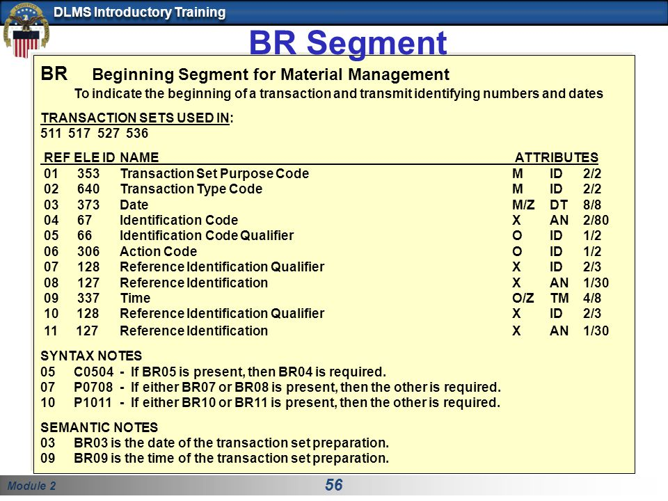 Module 2 56 DLMS Introductory Training BR Beginning Segment for Material Management To indicate the beginning of a transaction and transmit identifyin