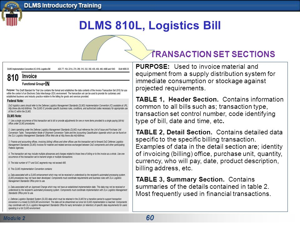 Module 2 60 DLMS Introductory Training DLMS 810L, Logistics Bill PURPOSE: Used to invoice material and equipment from a supply distribution system for