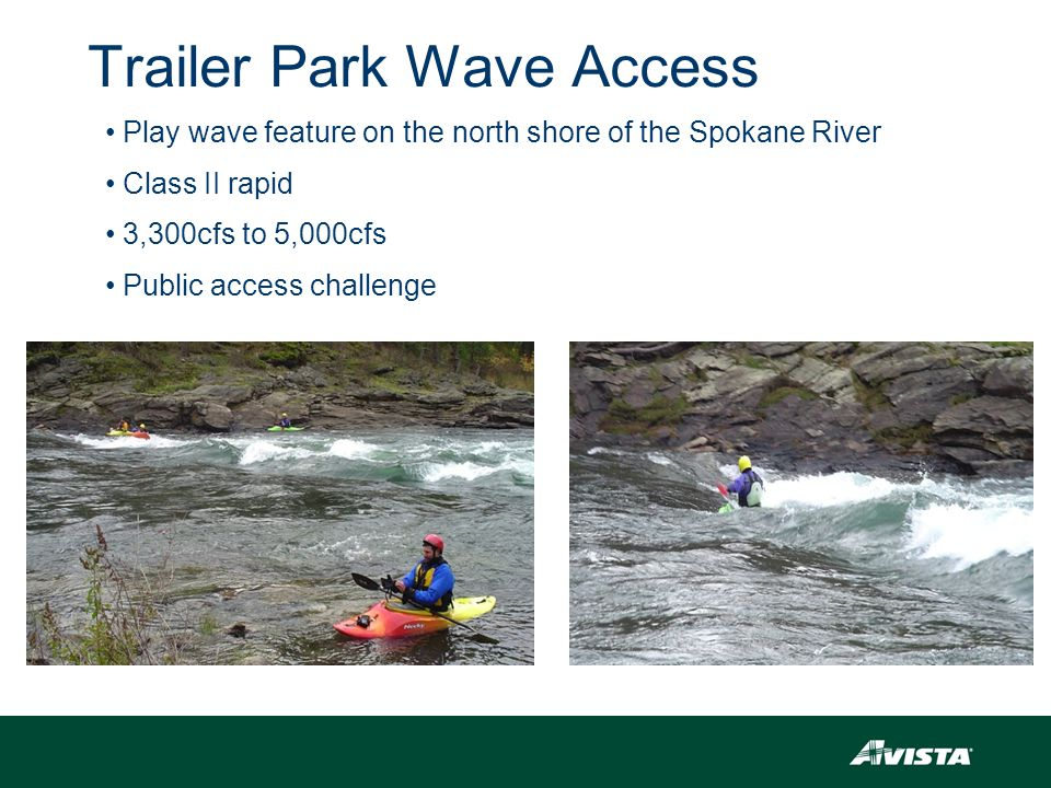 Trailer Park Wave Access Play wave feature on the north shore of the Spokane River Class II rapid 3,300cfs to 5,000cfs Public access challenge