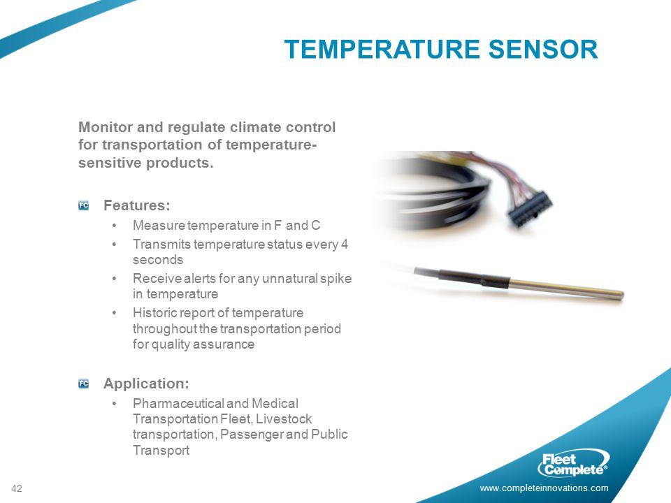 www.completeinnovations.com Monitor and regulate climate control for transportation of temperature- sensitive products.