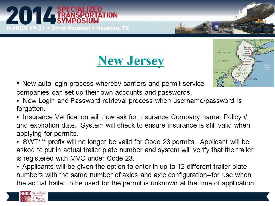 New Jersey New auto login process whereby carriers and permit service companies can set up their own accounts and passwords. New Login and Password re
