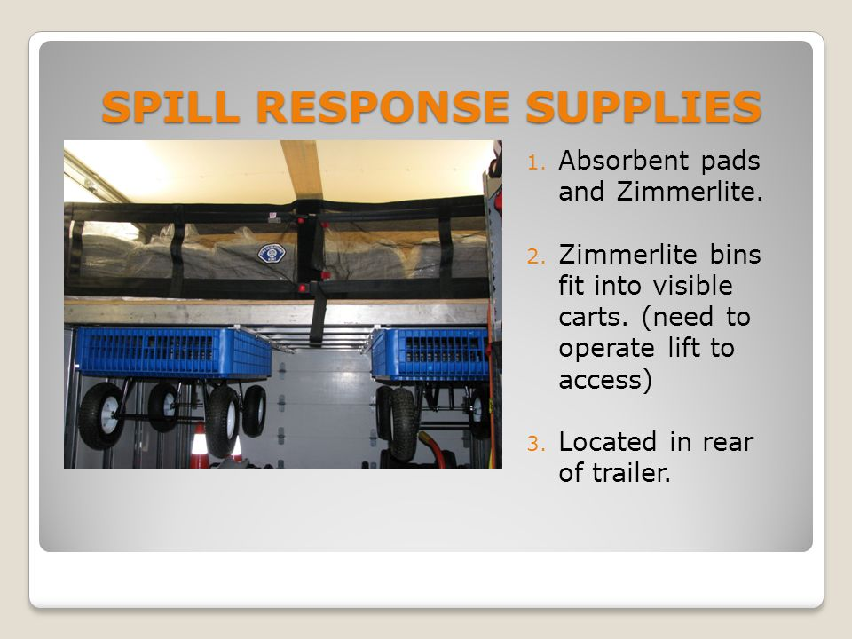 SPILL RESPONSE SUPPLIES 1. Absorbent pads and Zimmerlite.