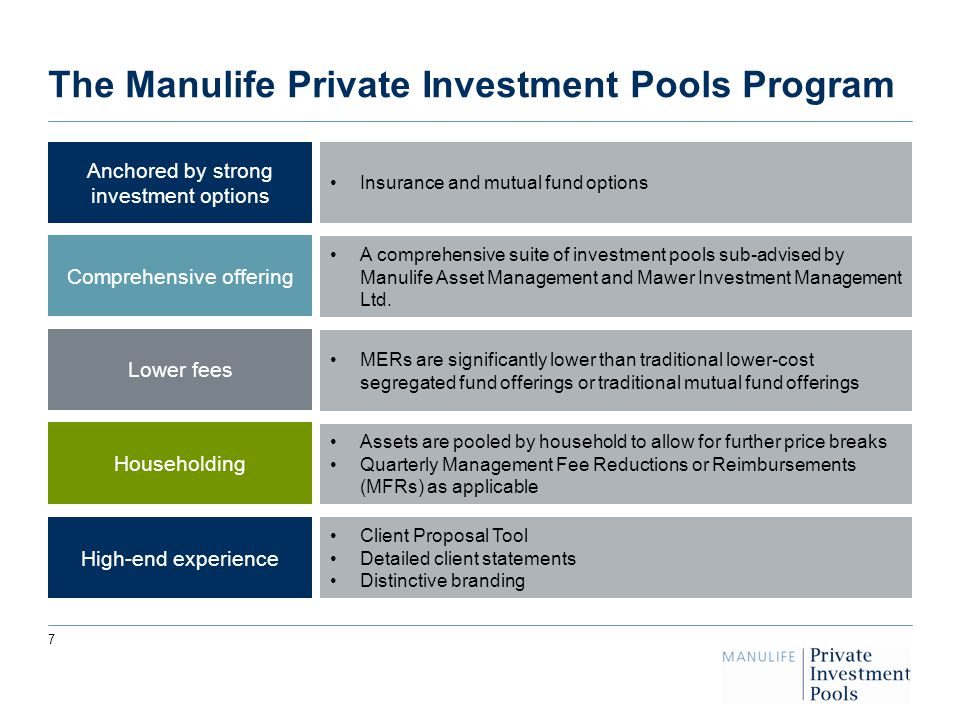 7 7 The Manulife Private Investment Pools Program Anchored by strong investment options Comprehensive offering Lower fees High-end experience Householding A comprehensive suite of investment pools sub-advised by Manulife Asset Management and Mawer Investment Management Ltd.