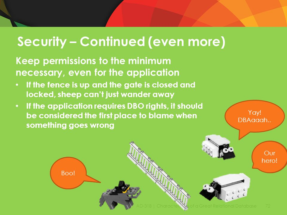 AD-318 | Characteristics of a Great Relational Database 72 Security – Continued (even more) Keep permissions to the minimum necessary, even for the application If the fence is up and the gate is closed and locked, sheep can't just wander away If the application requires DBO rights, it should be considered the first place to blame when something goes wrong Yum Baa.