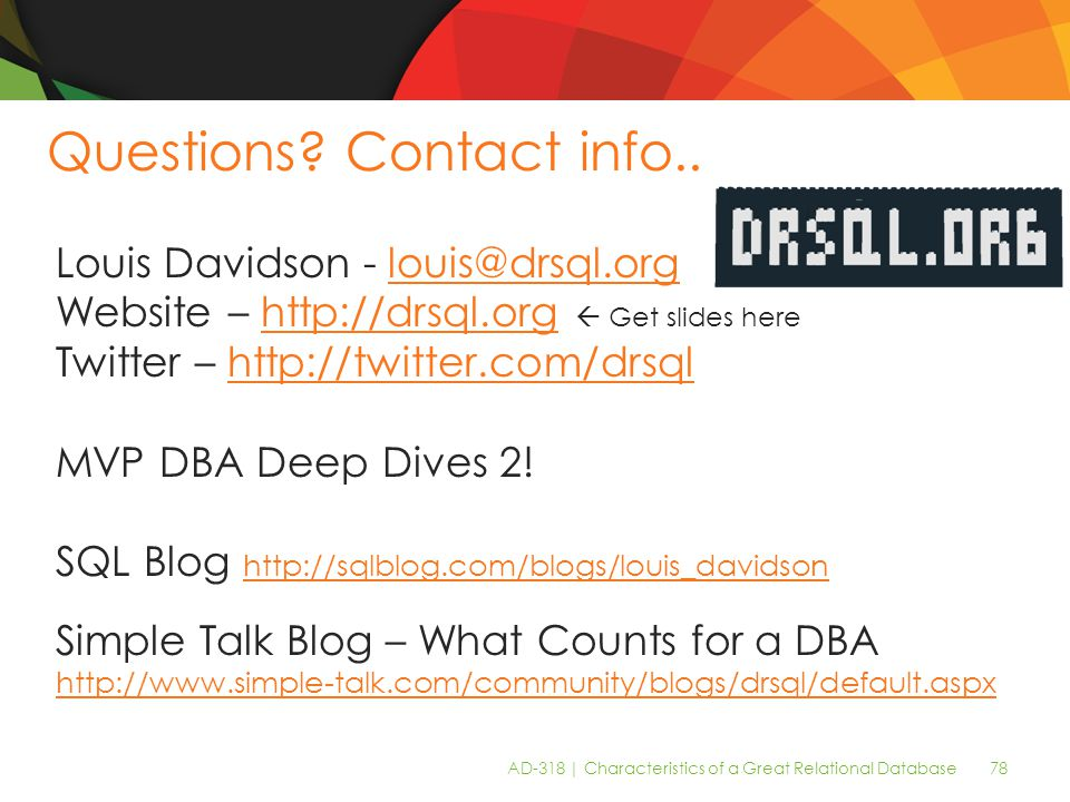 AD-318 | Characteristics of a Great Relational Database 78 Questions.