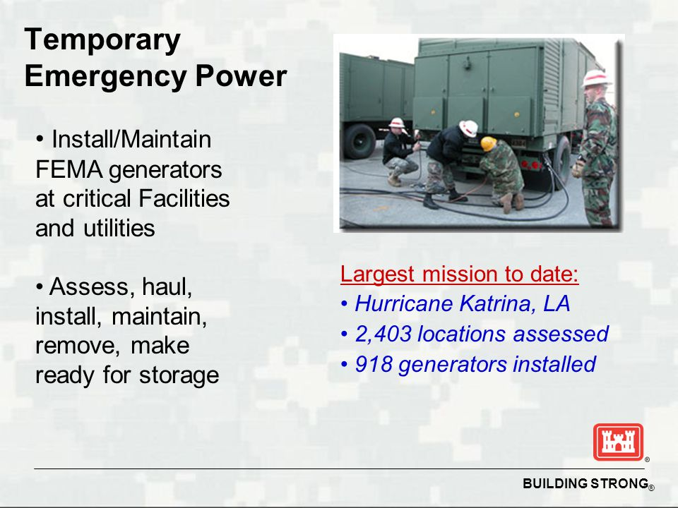 BUILDING STRONG ® Temporary Emergency Power Install/Maintain FEMA generators at critical Facilities and utilities Assess, haul, install, maintain, rem