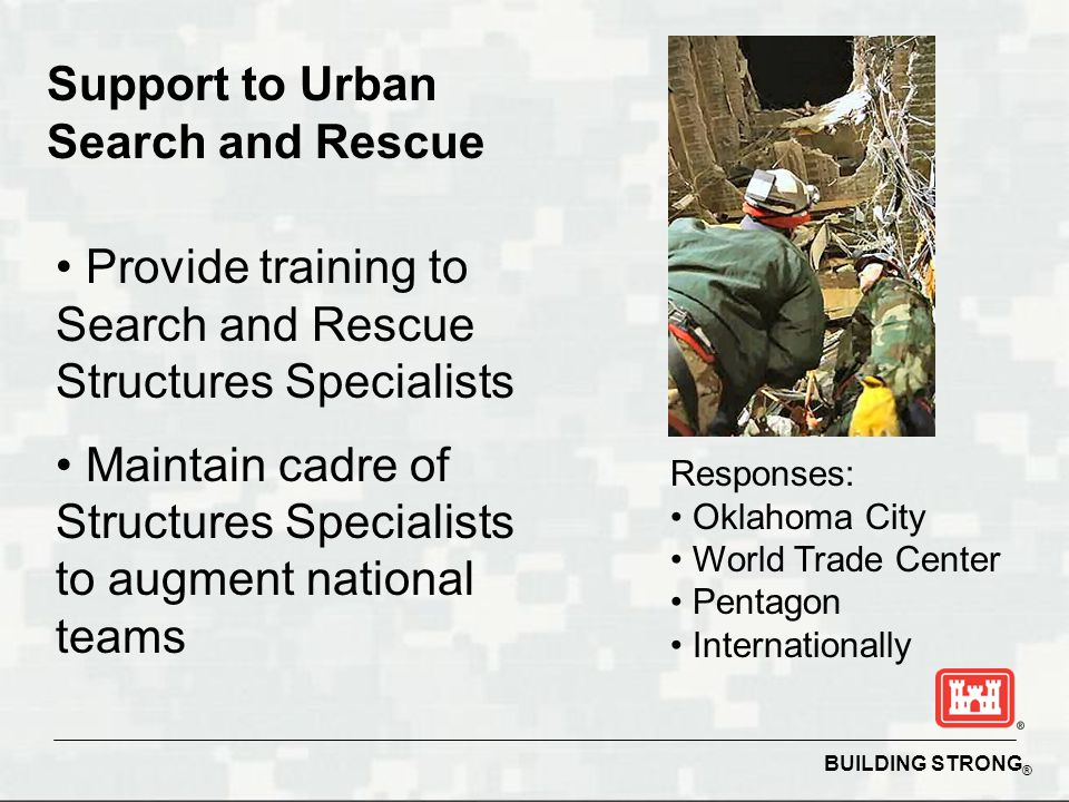BUILDING STRONG ® Support to Urban Search and Rescue Provide training to Search and Rescue Structures Specialists Maintain cadre of Structures Special