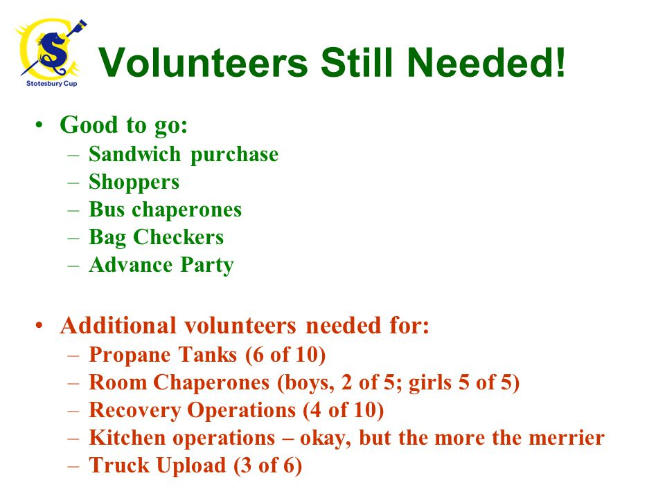 Volunteers Still Needed! Good to go: –Sandwich purchase –Shoppers –Bus chaperones –Bag Checkers –Advance Party Additional volunteers needed for: –Prop