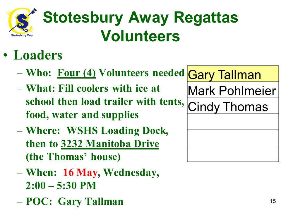Stotesbury Away Regattas Volunteers Loaders –Who: Four (4) Volunteers needed –What: Fill coolers with ice at school then load trailer with tents, food