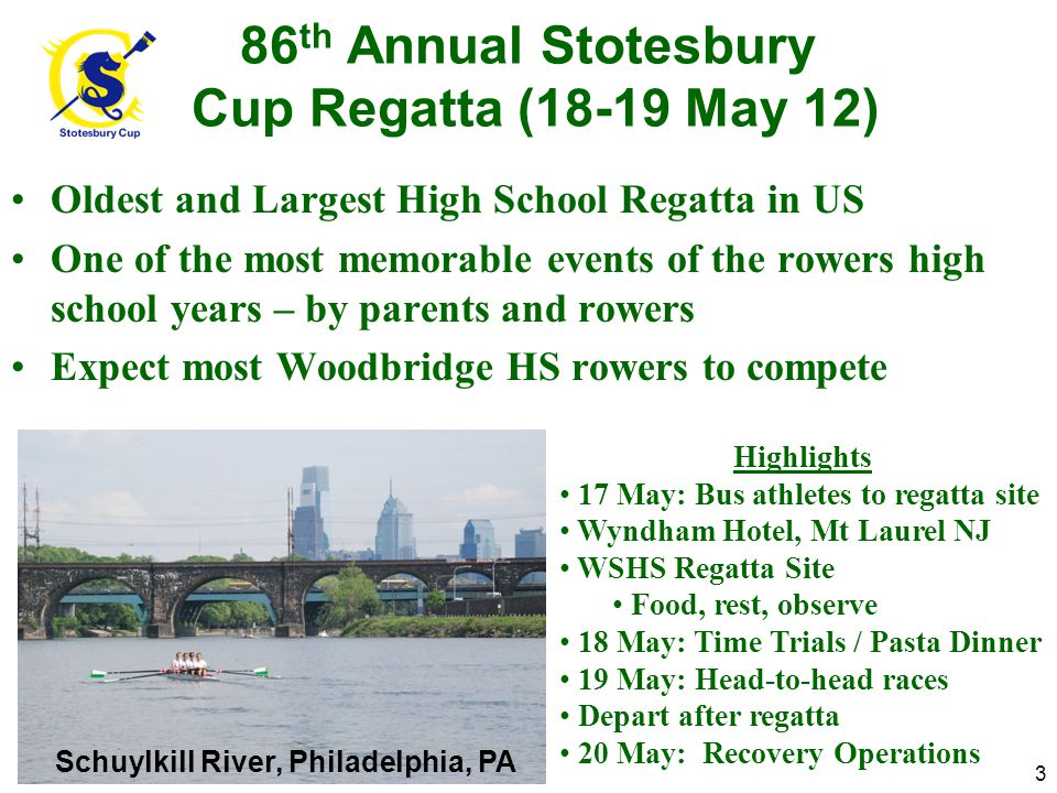 86 th Annual Stotesbury Cup Regatta (18-19 May 12) Oldest and Largest High School Regatta in US One of the most memorable events of the rowers high school years – by parents and rowers Expect most Woodbridge HS rowers to compete Schuylkill River, Philadelphia, PA 3 Highlights 17 May: Bus athletes to regatta site Wyndham Hotel, Mt Laurel NJ WSHS Regatta Site Food, rest, observe 18 May: Time Trials / Pasta Dinner 19 May: Head-to-head races Depart after regatta 20 May: Recovery Operations