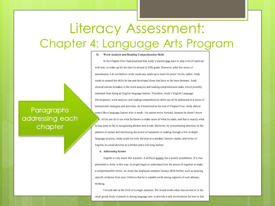 Literacy Assessment: Chapter 4: Language Arts Program Paragraphs addressing each chapter