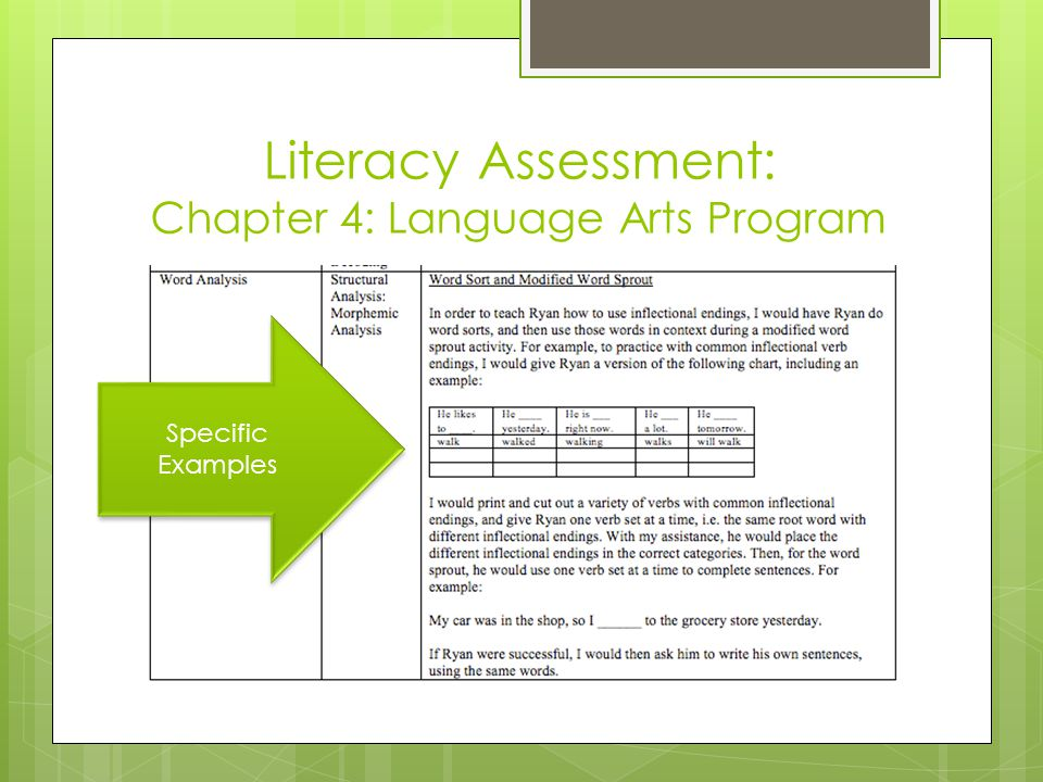 Literacy Assessment: Chapter 4: Language Arts Program Specific Examples