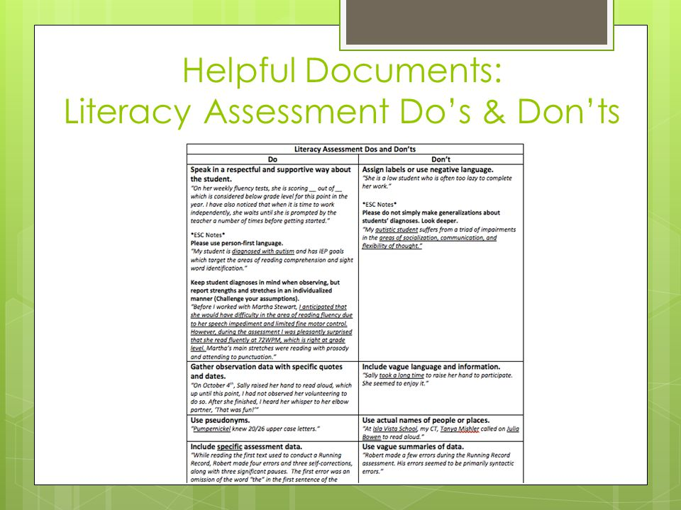 Helpful Documents: Literacy Assessment Do's & Don'ts
